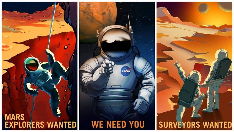 Illustration for article titled La NASA te quiere convencer de viajar a Marte con estos geniales carteles retro