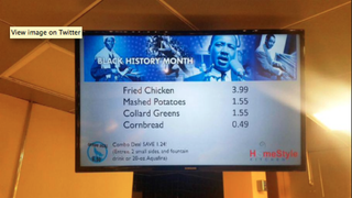 The Black History Month menu at Wright State University in Ohio featured fried chicken and collard greens.Twitter
