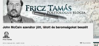 Illustration for article titled Fricz Tamás McCainnek: Ez neked szenátorkodás? (frissítve)