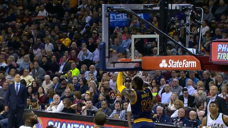 """Illustration for article titled """"That Was Insane! Officially Insane!"""" Is The Proper Call For LeBron's Reverse Jam"""