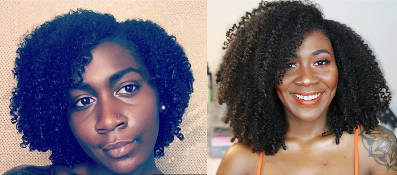 Nia Imani's hair growth from 2016 to 2018.