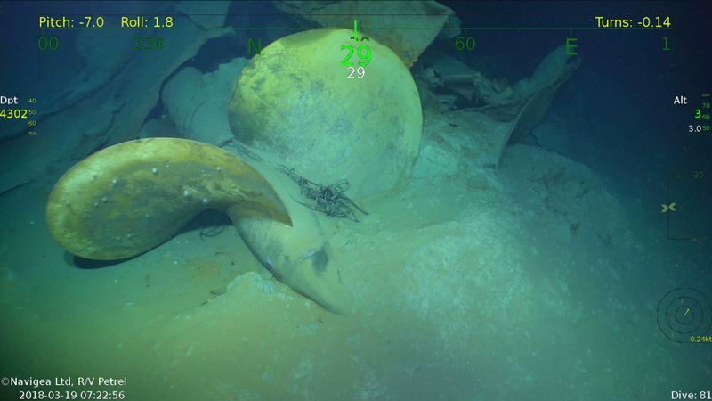 The propellor of the USS Juneau resting on the seafloor.