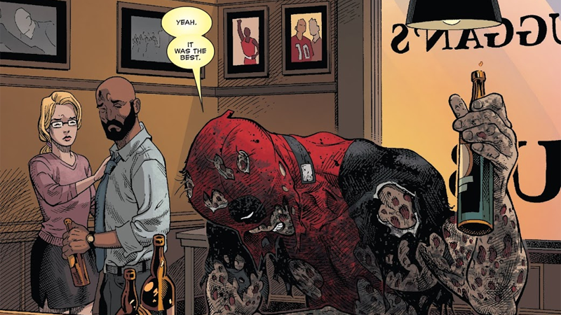 A sober moment (well, not that sober) in Deadpool #35.
