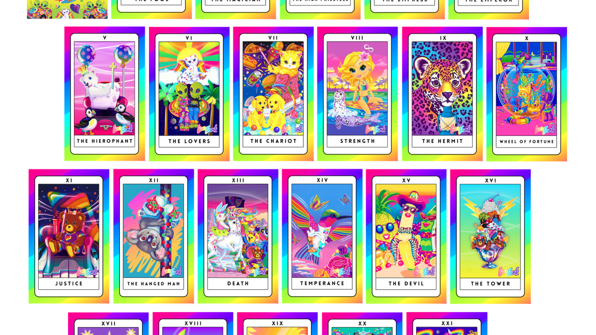 Enjoy these colorful tarot cards in the style of Lisa Frank