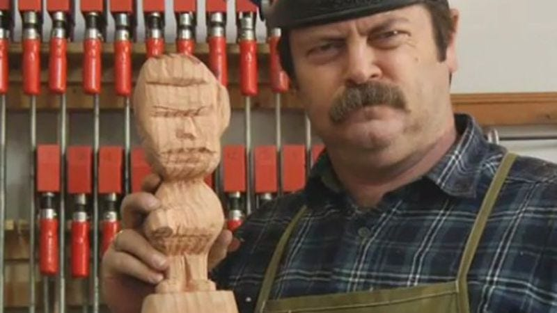 Illustration for article titled Celebrate Parks & Rec's impending return with some light woodworking, courtesy of Nick Offerman