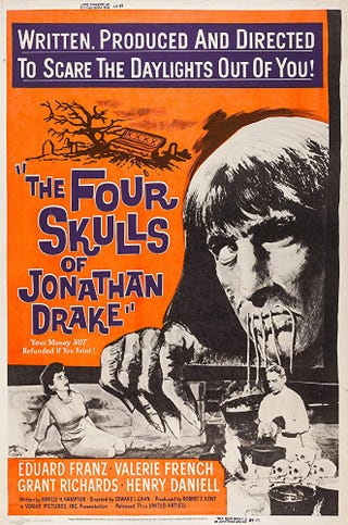 Illustration for article titled The Four Skulls of Jonathan Drake (1959)/Circus of Fear (1966)