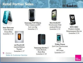 Illustration for article titled Unconfirmed: T-Mobile March Releases Include HTC HD2, Motorola Cliq XTP