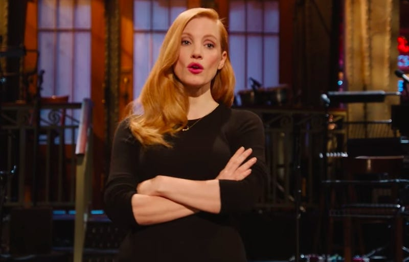 Jessica Chastain treads the boards on Saturday Night Live (Screenshot: YouTube)