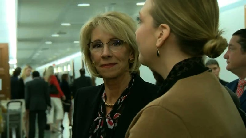Illustration for article titled Betsy DeVos, Who Wants To Defund The Special Olympics, Smiles Dumbly, Gets Thrown Under The Bus, Then Lies