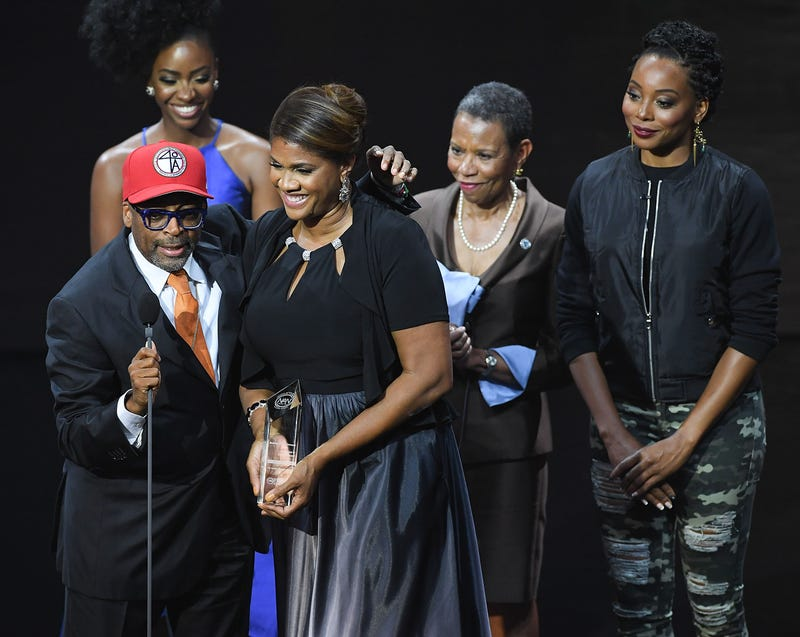 Spike Lee and Dr. Vietta Johnson onstage at the 2016 Triumph Awards, presented by National Action Network and TV One, at the Tabernacle in Atlanta on Sept. 18, 2016Paras Griffin/Getty Images