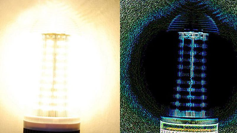 An LED light (left) and what it looks like processed with the new algorithm (right).