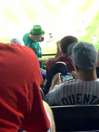 Illustration for article titled Bored Baseball Fans Play Baseball Video Games At Baseball Game
