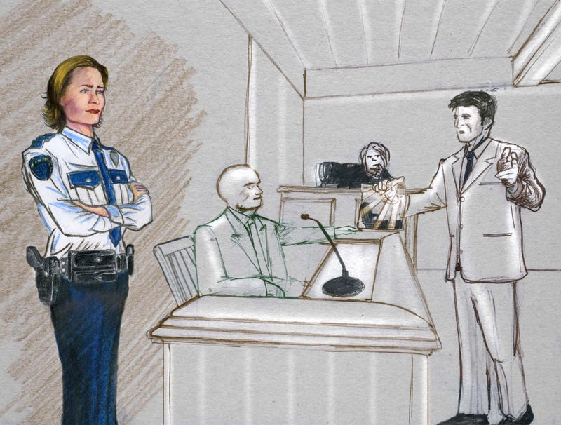Illustration for article titled Courtroom Artist Clearly Infatuated With Bailiff