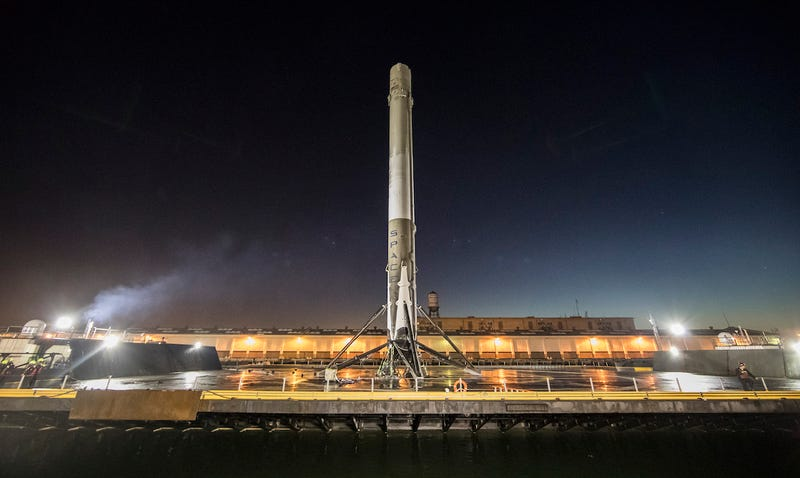 SpaceX's most recently-launched Falcon 9 rocket, landed on a barge off the California coast. Image: SpaceX/Flickr