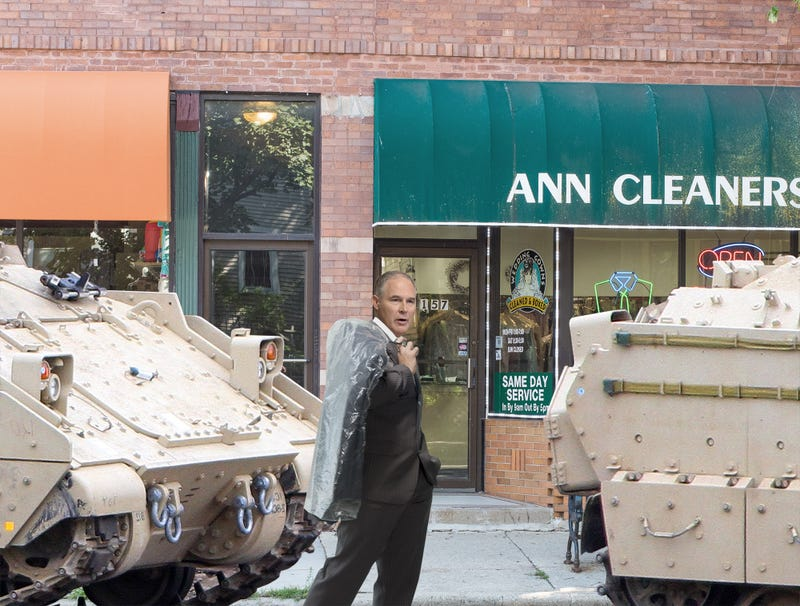 Illustration for article titled Scott Pruitt Defends Use Of 1st Armored Division For Trip To Dry-Cleaner
