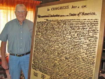 The Declaration of Independence Carved In Wood