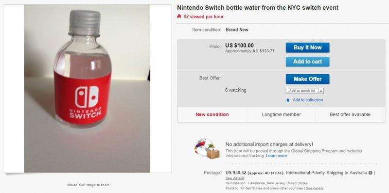 Illustration for article titled Los botellines de agua de la presentación de Nintendo Switch cuestan 100 dólares en eBay