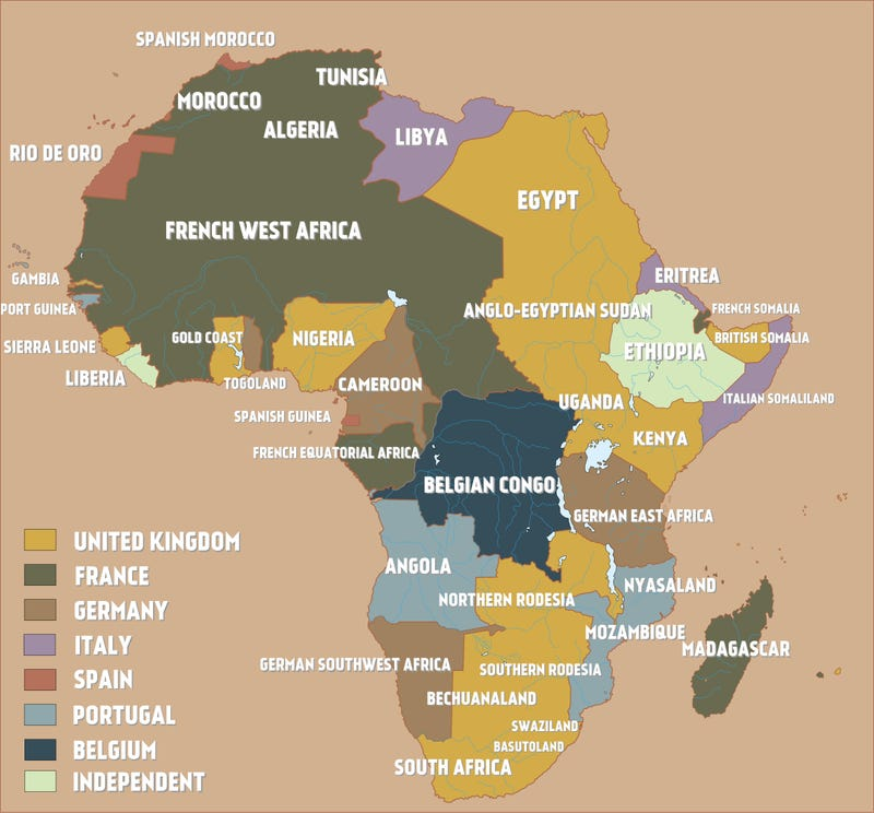 A map of colonial africa just before the outbreak of world war i africa had been invaded occupied and colonized by several european nations this wonderful map by redditor whiplashoo21 shows how the scramble for gumiabroncs Choice Image