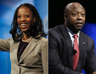 Mia Love in 2013; Sen. Tim Scott (R-S.C.) in 2013 Pete Marovich/Getty Images; Alex Wong/Getty Images