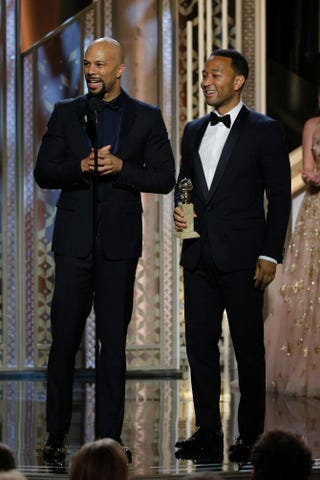 """Common and John Legend, winners of Best Original Song, Motion Picture, for """"Glory"""" in Selma, speak onstage during the 72nd Annual Golden Globe Awards at the Beverly Hilton Hotel Jan. 11, 2015, in Beverly Hills, Calif.Paul Drinkwater/NBCUniversal via Getty Images"""