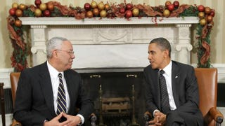 Former Secretary of State Colin Powell with President Barack Obama in the Oval Office of the White House Dec. 1, 2010, in Washington, D.C.Alex Wong/Getty Images