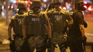 Police advance on demonstrators protesting the killing of teenager Michael Brown in Ferguson, Mo., Aug. 17, 2014. Brown was shot and killed by a Ferguson police officer Aug. 9, 2014.Scott Olson/Getty Images