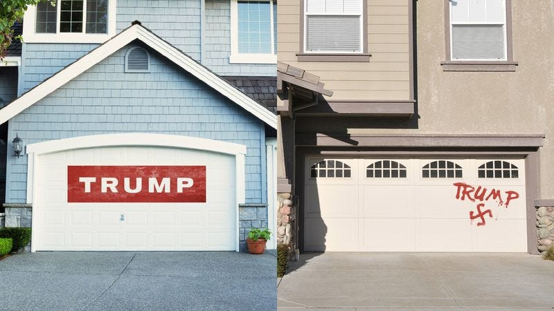 Illustration for article titled Finding Common Ground: This White Man And This Muslim Woman Both Have 'Trump' Painted On Their Garages