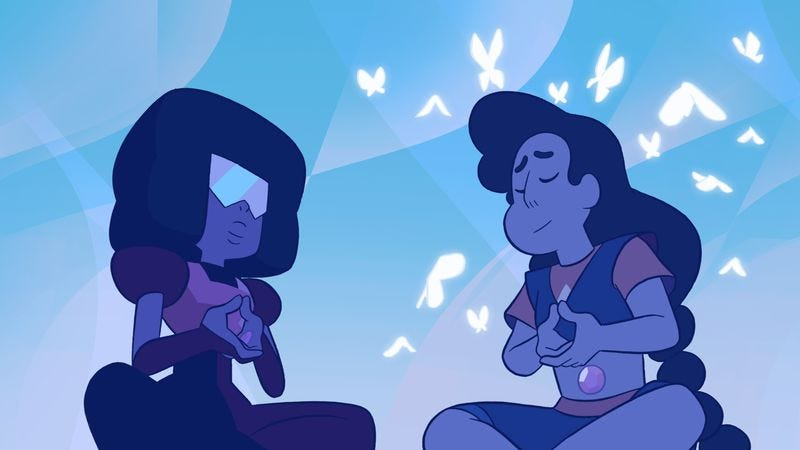 "Illustration for article titled Steven Universe and Connie get a ""Mindful Education"" from Garnet"