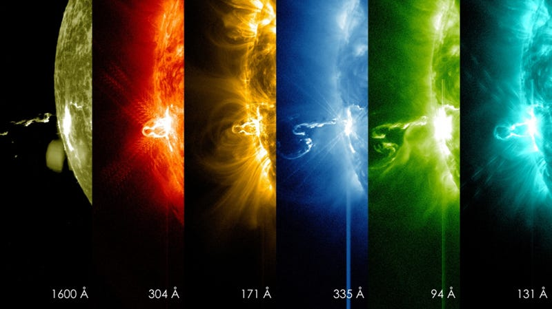 Illustration for article titled Here's What a Solar Flare Looks Like In Different Wavelengths of Light