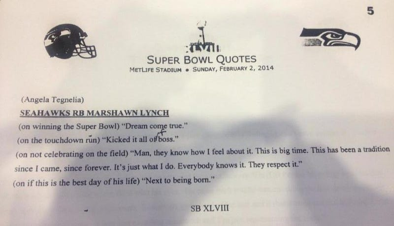 Illustration for article titled Marshawn Lynch Is Still Not Talking