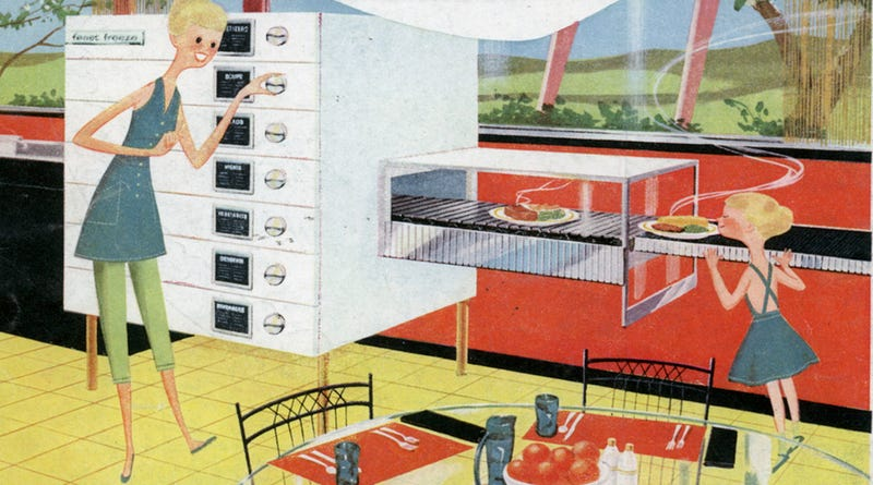 Illustration for article titled How We Imagined The Push-Button Kitchen Before Microwaves Existed