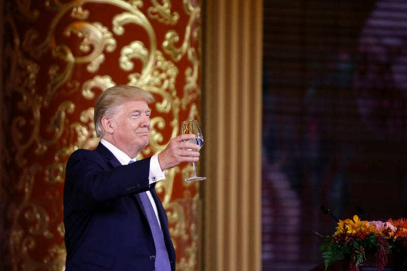 President Donald Trump attends a state dinner at the Great Hall of the People on Nov. 9, 2017, in Beijing.  (Thomas Peter-Pool/Getty Images)