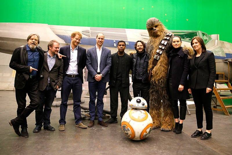 Some of the Last Jedi cast, just hanging out with England's princes and BB8 (Photo: Adrian Dennis-WPA Pool/Getty IMages)