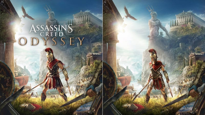 Ubisoft tells us that the Kassandra version on the right will also include the game's logo.