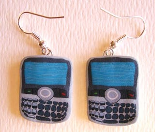 Illustration for article titled BlackBerry Earrings Shows That You're Nerdy, Kinda Unstable