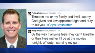 Former San Jose, Calif., Police Officer Phillip White is shown here, along with two threatening tweets sent from his account. White is no longer on the police force.ABC News screenshot