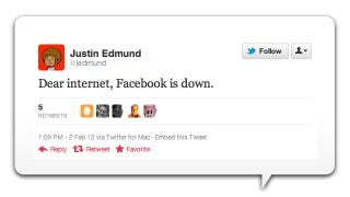 Illustration for article titled World Learns of Facebook's Technical Difficulties via Twitter