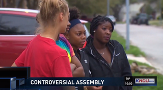 Humble (Texas) High School students talk about a controversial school assembly that left some students in tears. KHOU screenshot