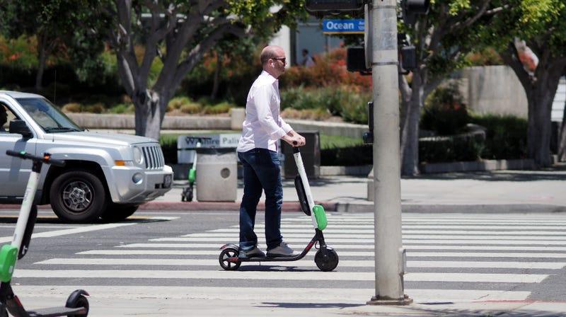 A man rides a LimeBike in Santa Monica, California in 2018.