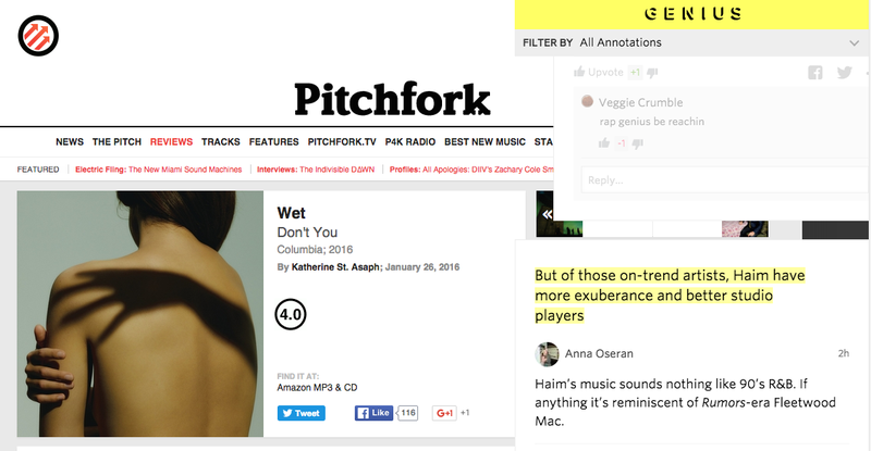 Illustration for article titled Genius Annotates a Pitchfork Review and Every Music Critic Bursts Into Flames