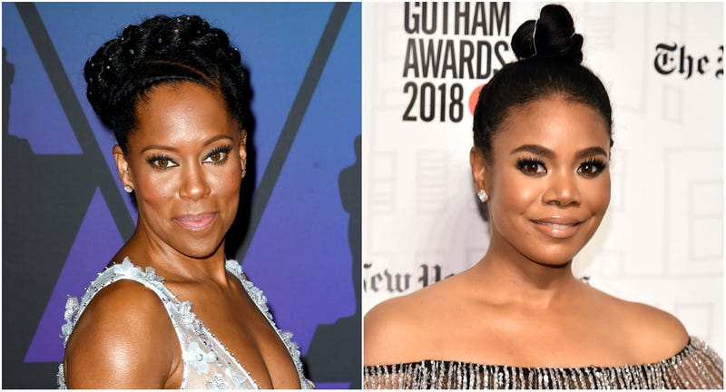 (l-r) Regina King attends the Academy of Motion Picture Arts and Sciences' 10th annual Governors Awards on November 18, 2018 in Hollywood, California; Regina Hall attends the 2018 Gotham Awards on November 26, 2018 in New York City.