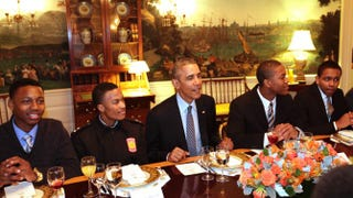 President Barack Obama has lunch with young participants in the My Brother's Keeper initiative at the White House Feb. 27, 2015, in Washington, D.C.Chris Kleponis-Pool/Getty Images