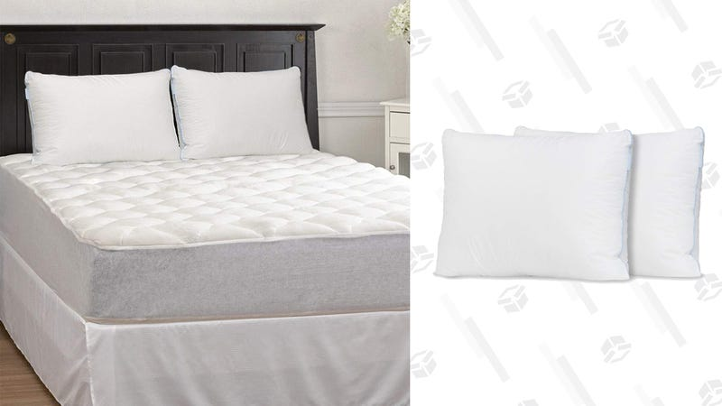 eLuxurySupply Bamboo Mattress Pad, Fitted Skirt and 2-Pack of Extra Firm Pillows | $75 | Amazon | Use promo code LKLTUJ4N