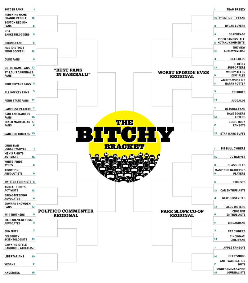 Illustration for article titled Quit Bitchin', Start Voting: Round 1 Of The Bitchy Bracket Continues