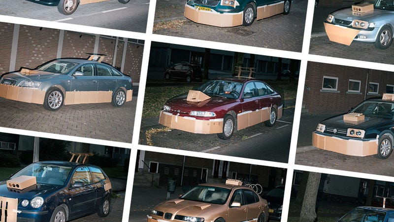 Illustration for article titled This Artist Turns Boring Rides Into Supercars At Night Using Cardboard