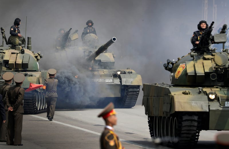 Soldiers in tanks are paraded across Kim Il Sung Square during a military parade on April 15, 2017, in Pyongyang, North Korea, to celebrate the 105th birth anniversary of Kim Il Sung, the country's late founder and grandfather of current ruler Kim Jong Un. (Wong Maye-E/AP Images)