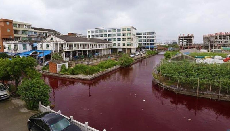 Illustration for article titled River in China mysteriously turns blood-red overnight