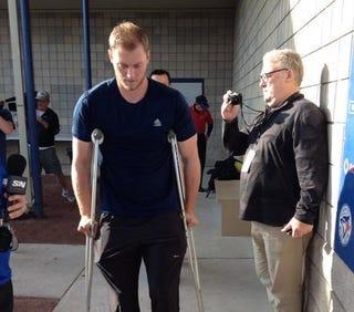 Illustration for article titled Blue Jays' Michael Saunders Steps On Sprinkler, Needs Knee Surgery