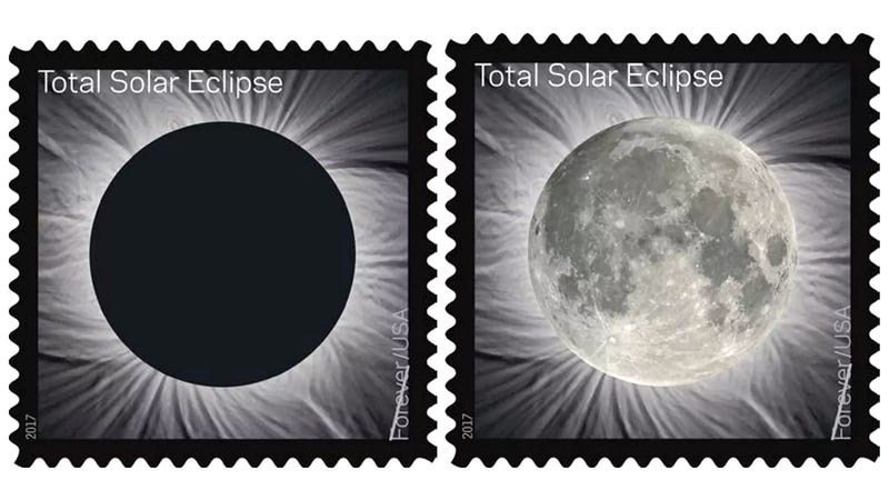 Illustration for article titled The Moon Magically Appears on the Post Office's New Total Solar Eclipse Stamp