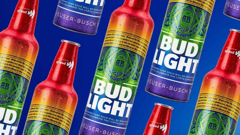 In the U.S., Bud Light will partner with GLAAD in June to to launch its first-ever rainbow aluminum bottle.